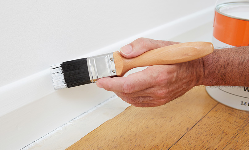 Painting the skirting board
