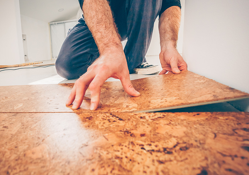 Cork flooring being laid