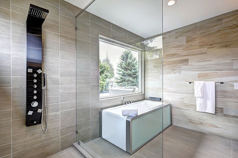 Wet rooms can look more modern than traditional bathrooms