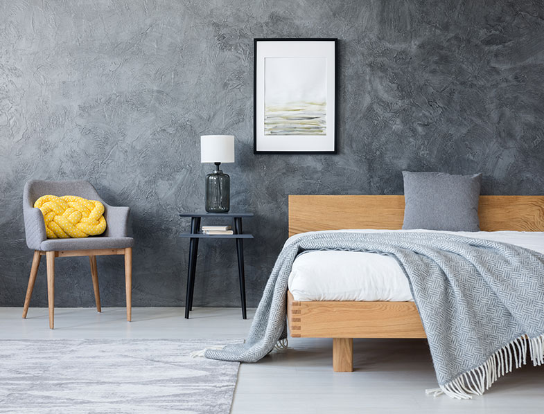 Bedroom in shades of Gray